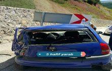 Pöske Dağında Trafik kazası 5 yaralı